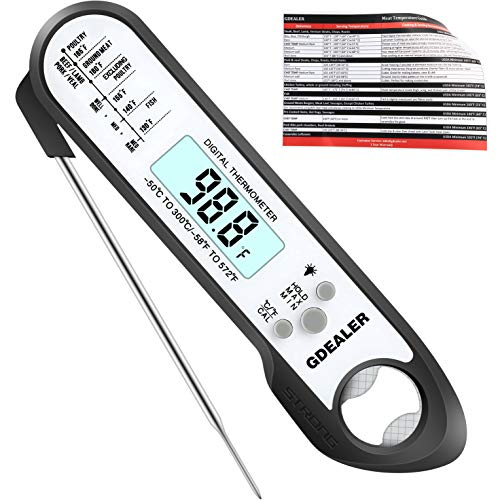 GDEALER DT8 2019 Upgraded Waterproof Digital Instant Read Meat Thermometer with 2-4s Response Time High Capacity Battery for Kitchen Food Candy BBQ Grill Cooking Smoke Deep Fry ()