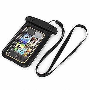 Move & Moving (TM) tono de oro bolsa de impermeable para teléfono celular de 4,5W correa para el cuello