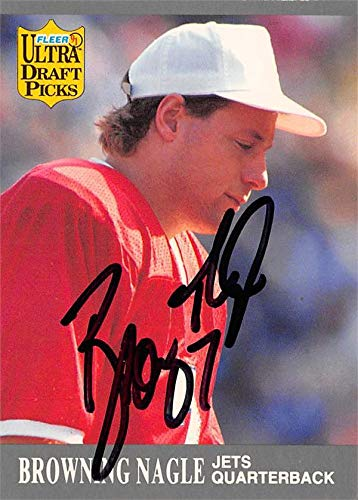 Browning Nagle autographed Football Card (New York Jets) 1991 Fleer Ultra Draft Picks #293 - NFL Autographed Football Cards -