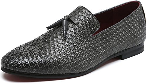 Men's Woven Lux Loafers Modern Casual Tassel Round Toe Slip-on Leather Moccasin Driving Shoes (6.5, Grey) Woven Leather Loafer Shoe