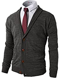 3e354d8bbb Mens Slim Fit Cardigan Sweater Shawl Collar Soft Fabric With Ribbing Edge
