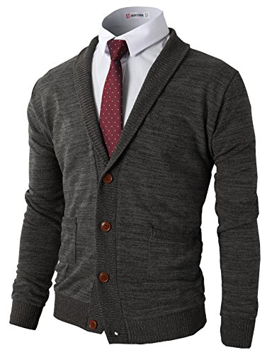 H2H Mens Slim Fit V-Neck Button Up Cardigan Sweater CHARCOAL US M/Asia L (CMOCAL07)
