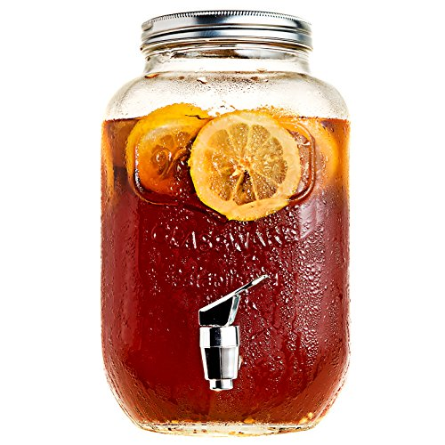 Mason Jar Glass Beverage Dispenser with Metal Lid, 1 Gallon (Jar Glass Dispenser)