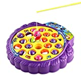 Haktoys Fishing Game Toy Set with Single-Layer Rotating Board   Now with Music On/Off Switch!   Includes 21 Fish and 4 Fishing Poles   Safe and Durable Gift for Toddlers and Kids