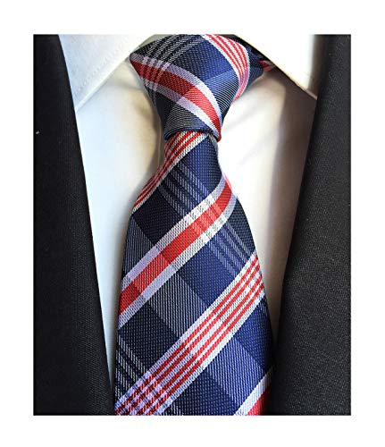 Men Navy Red White Fashion Ties Stylish Handmade Formal Necktie Great For Groom