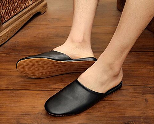 TELLW Floor M Slippers Autumn Mute Men Wooden PU Leather Noir Women Summer Spring and for ZrOqw1xZ0