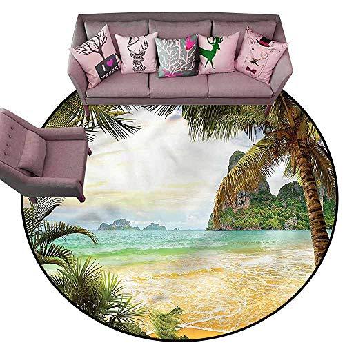 - Print Floor Mats Bedroom Carpet Ocean,Palm Coconut Trees Beach Diameter 54