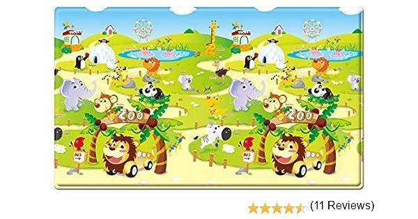 Dwinguler Non toxic playmat//Baby Toddler Kids Children Soft Play Mat//Safe Crawling Mat Zoo Large