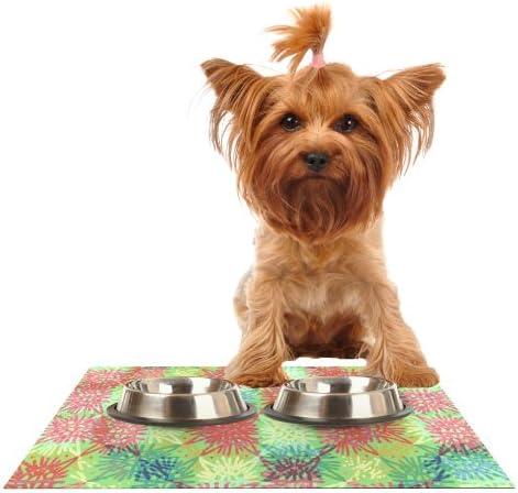 KESS InHouse Laura Nicholson Multi Lacy Feeding Mat for Pet Bowl 18 by 13Inch