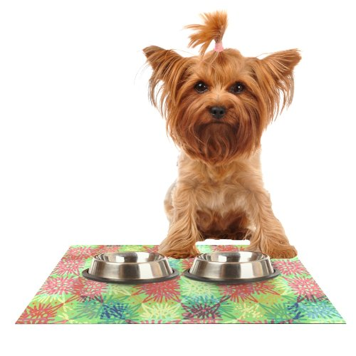KESS InHouse Laura Nicholson Multi Lacy  Feeding Mat for Pet Bowl, 18 by 13-Inch