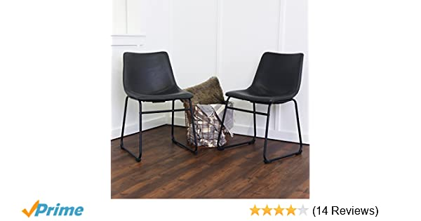 35e6aec8b63 Amazon.com - WE Furniture Black Faux Leather Dining Chairs