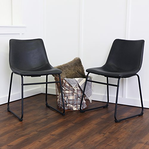 (WE Furniture Black Faux Leather Dining Chairs, Set of 2 Rustic Cushion Seat Metal Legs)