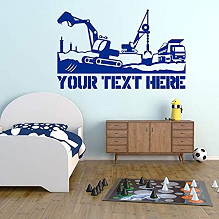 WWYJN Construction with Personalized Text. Vinyl Wall Art Decal ...