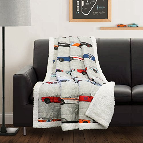 "Lush Decor 16T000552 Race Cars Sherpa Throw Blanket, 60"" x 5"