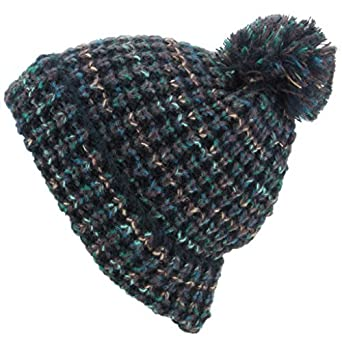 ... official supplier a40ad 86062 Hawkins Chunky Knit Beanie Bobble Hat -  Black Green ... 947d9b48d19c