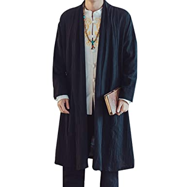 211ab6b31 Shanenxn Men's Chinese Style Casual Windbreaker Long Coat Jacket Coat (Color  : Black, Size