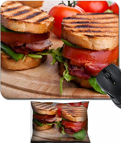Back Support Blt - MSD Mouse Wrist Rest and Small Mousepad Set, 2pc Wrist Support design: 31460946 Bacon lettuce and tomato BLT sandwiches with fresh ingredients at back