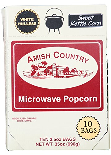 Amish Country Popcorn - Sweet Kettle Corn White Hulless - Old Fashioned Microwave Popcorn - All Natrual, Gluten Free, and Non GMO - 1 Year Freshness Guarantee (10 Bags) -