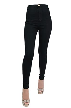 High waist jeans with one button