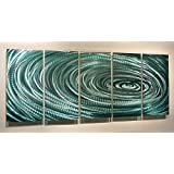Large Teal Blue Abstract Metal Wall Art - Contemporary Painting - Wall Decor - Home Accent - Reflective Whispers by Jon Allen