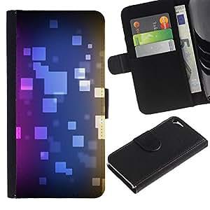 For Apple iPhone 5 / iPhone 5S,S-type® Polygon Pattern Purple Blue Black - Dibujo PU billetera de cuero Funda Case Caso de la piel de la bolsa protectora