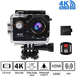 4K WIFI Action Video Camera Waterproof Sports Cam - Diving Underwater Camera ,1080P Camcorder Sports Camera with 170 Degree Wide Angle 2 Inch LCD Plus 1050mAh Rechargeable Battery and Accessories Kits