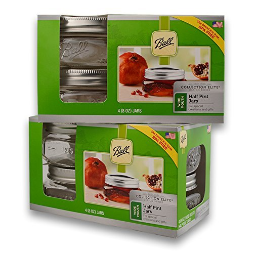 (2 Packs) Ball Mason Wide Mouth Half Pint Jars - 8oz - 4 Jars Per Box - Total 8 (Ball Perfect Mason Jar)