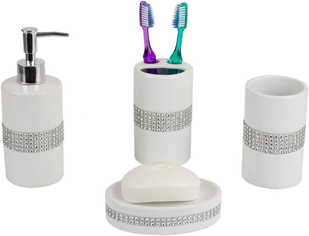 Home Basics 4 Piece Luxury Bath Accessory Set with Stunning Sequin Accents (White)