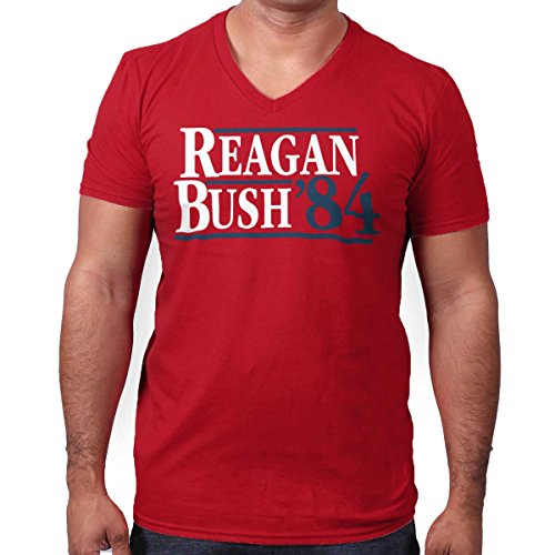 Brisco Brands Ronald Reagan George Bush 84 Campaign Shirt | USA Cool Gift V-Neck T-Shirt (George Bush Usa Flag)