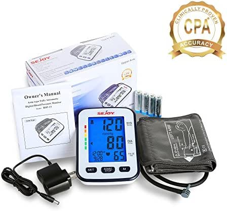 Automatic Blood Pressure Monitor, Upper Arm, Extra Large Digital Screen, Easy to Use, Standard and Large Universal Arm Cuff, Batteries Included, SEJOY BSP-13 Series …