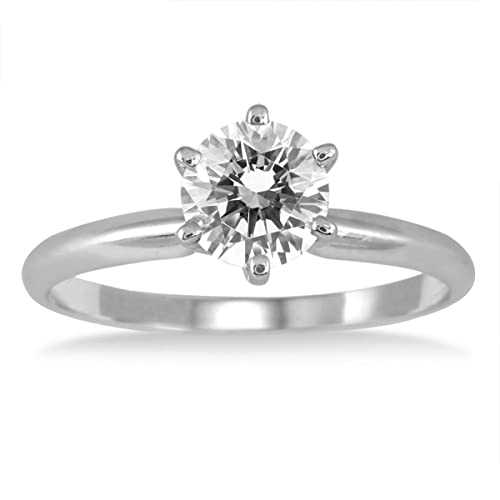 AGS Certified 1 Carat Diamond Solitaire Ring in 14K White Gold J-K Color, I2-I3 Clarity
