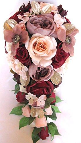 Wedding Bouquet 17 piece package Bridal Bouquets Silk flower Bouquet BURGUNDY BLUSH Peach MAUVE Gold Bridal flowers Centerpiece