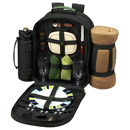 Ascot Place (Picnic at Ascot - Deluxe Equipped 2 Person Eco Picnic Backpack with Cooler, Insulated Wine Holder & Blanket - Forest Green)