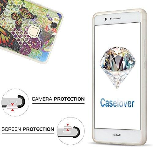 Funda Huawei P9 Lite, CaseLover Carcasa para Huawei P9 Lite Transparente Suave Silicona TPU Espalda Protectora Caso Ultra Delgado Parachoques Tapa Anti-Arañazos Caja Shock-Absorción Cubierta (5.2 Pulg Mariposa