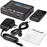 Fosmon HD8062 [Supports 4K, Full HD1080p, 3D] Intelligent 5-Port HDMI Switch | Switcher with IR Remote and AC Adapter