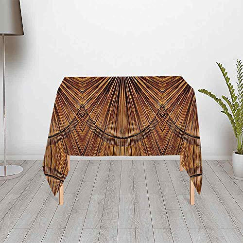 Primitive Cloth Doll Patterns - Tribal Decor Stylish Satin Tablecloth,Boho Bamboo Pattern Primitive Eastern Ethnic Spiritual Jagged Wood Style Art Print for Outdoor Picnic and Table Decorate,39.37''W x 39.37''H