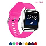 Fitbit Blaze Accessory Band,Soft Silicone Replacement Sport Strap Band for Fitbit Blaze Smart Fitness Watch , Frame Not Included (Hot Pink)