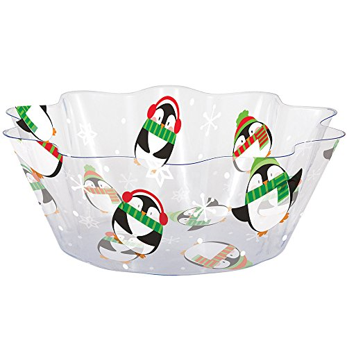 Creative Converting 324376 12-Count Fluted Plastic Serving Bowls, Penguins ()