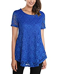 DJT Women's Round Neck Floral Lace Short Sleeve Flared Tunic T Shirt Top