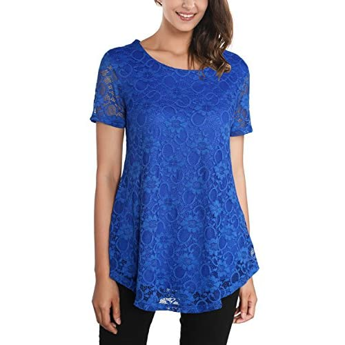 Top DJT Women's Round Neck Floral Lace Short Sleeve Flared Tunic T Shirt Top hot sale