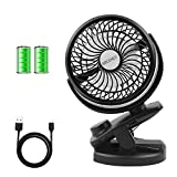 BRIGENIUS Battery Operated Clip on Stroller Fan - Portable Mini Desk Fan with Rechargeable 4400mAh Battery&USB Cable, USB Powered Clip Fan for Baby Stroller Office Outdoor Travel