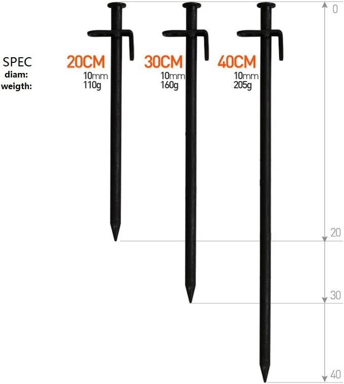 40CM 4pcs Tent Stake Burly Forged Steel Metal Camping Tent Pegs Ground Nail