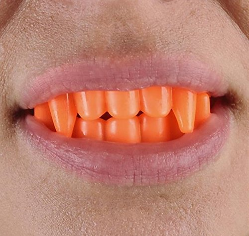 Kicko Bright Color Vampire Teeth Plastic - Pack of 12-2.5 X 1.75 Inches - Assorted Colors - Fun Cool Fangs Halloween, Cinco de Mayo - for Kids and Adults, Party Favors, Fun, Toy, Prize