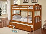 InRoom Designs B179H Wood Twin Size Bunk Bed (Bunkbed) with Trundle and Storage Drawers, Honey