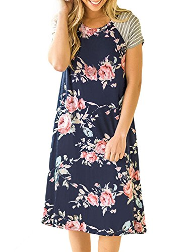 Womens Floral T Shirt Dresses Casual Striped Short Sleeve A-line Loose Shift Dress