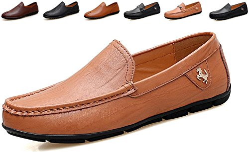Go Tour Men's Casual Leather Fashion Slip-on Loafers Shoes Brown C 9.5/44