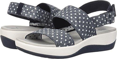 CLARKS Women's Arla Jacory Platform, Navy White Dot Elastic, 9.5 Medium - Womens Dots Sandals