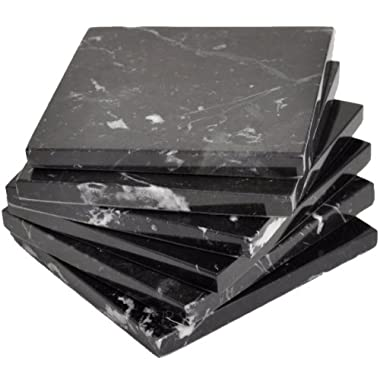Black Marble Coaster a set of 6 stone Coasters for your bar and home drinks