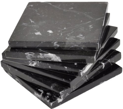 CraftsOfEgypt Set of 4 - Black Marble Stone Coasters – Polished Coasters – 3.5 x 3.5 Inches (9x9 cm) Square – Protection from Drink Rings