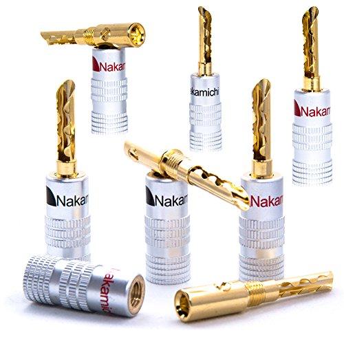10 x HIGH END Nakamichi Hohl Bananenstecker Bananas für Kabel bis 6mm² 24K löt- oder schraubbar komplett vergoldet kein Plastik